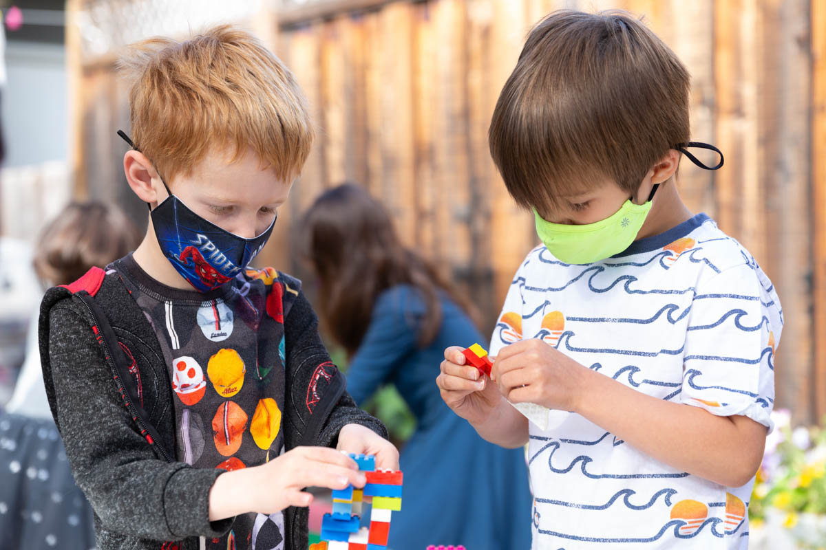 Children learning social skills as they develop creativity.